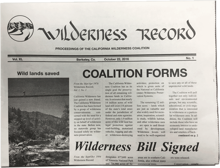 CalWild Wilderness Record, October 22, 2016.