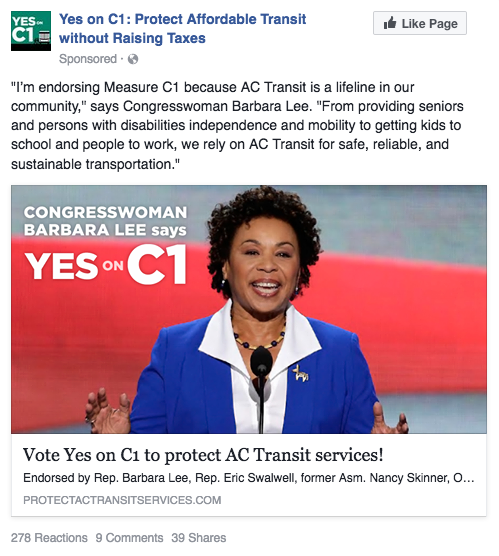 Yes on C1 Facebook ad - Barbara Lee endorsement