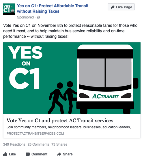 Yes on C1 Facebook ad - general