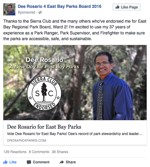 Dee Rosario for East Bay Parks Board Facebook ad - Sierra Club endorsement