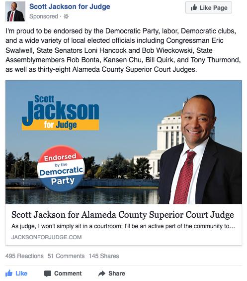 Scott Jackson for Judge Facebook ad - Democratic Party endorsement