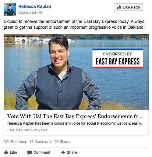 Rebecca Kaplan Facebook ad - East Bay Express endorsement