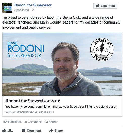 Dennis Rodoni for Supervisor Facebook ad - Sierra Club endorsement