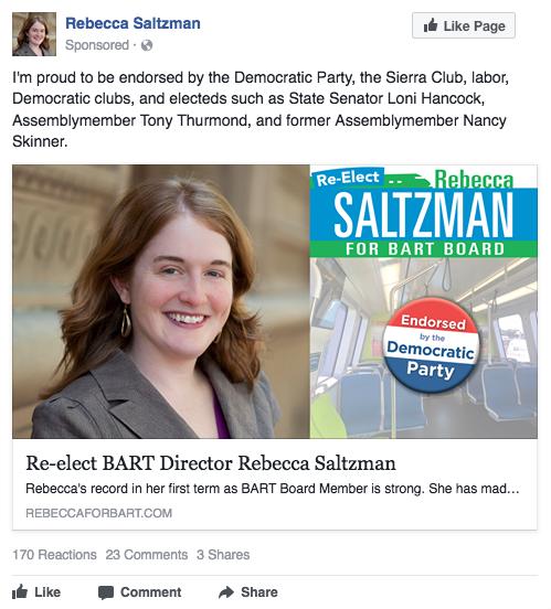 Rebecca Saltzman Facebook ad - Dem endorsement