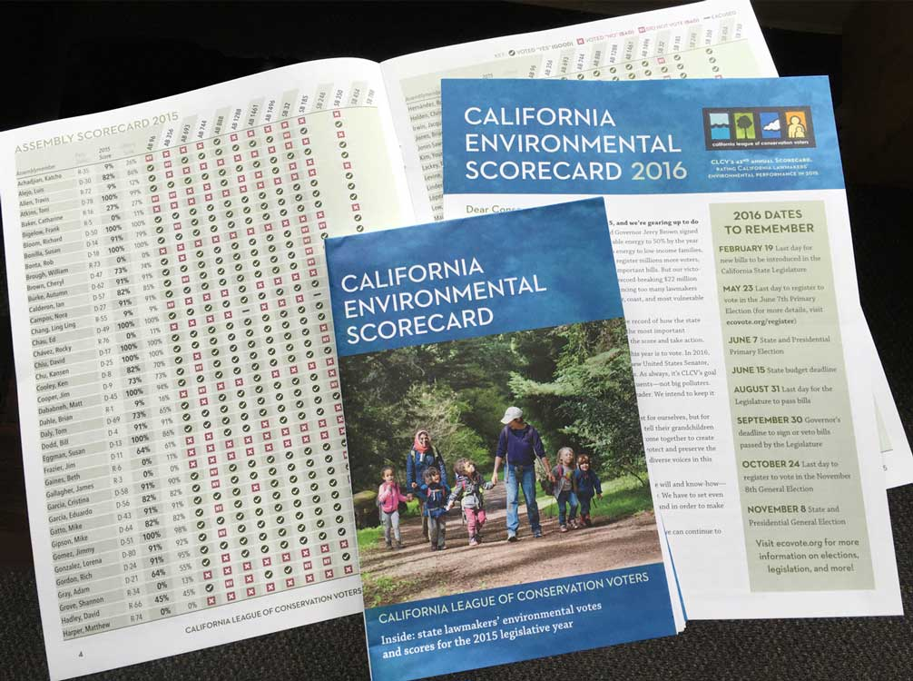 The print version of the 2016 California Environmental Scorecard